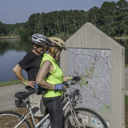 Maps along the AMP help visitors along the 33+ miles of paved trail.
