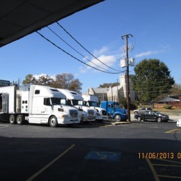 Production Vans fill the Lithonia Plaza for Dumb and Dumber To