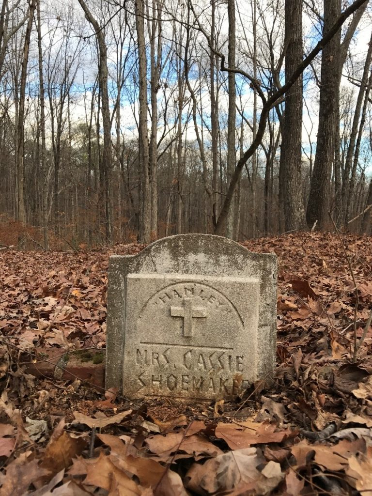 A tombstone in the historic Flat Rock cemetery.