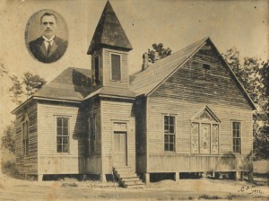 The historic Flat Rock Church. Demolished in 1972.